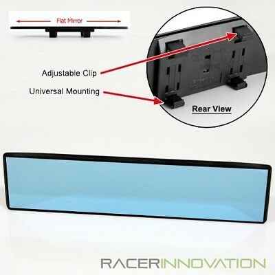 300mm Flat Blue Tinted Wide-Angle Anti-Glare Clip-on Rear View Rearview Mirror