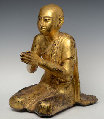 19th Century, Mandalay, Antique Burmese Wooden Seated Disciple