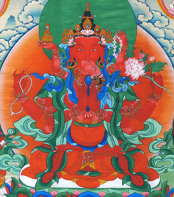 "25"" Mineral Color Silkprint Tibetan Thangka: Red 4-Arms Chenrezig With Consort ="