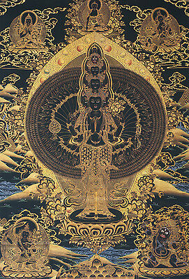 "25"" Natural Mineral Color Tibetan Black Thangka: 1000 Hands Avalokiteshvara"
