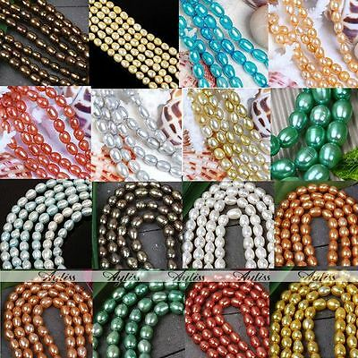 4-8mm Cultured Rice Oval Fresh Water Pearl Loose Beads Jewelry Finding Craft DIY
