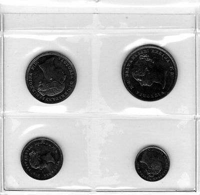 Great Britain 1874 Maundy Set Victoria Penny Two Three Fourpence Silver Coins