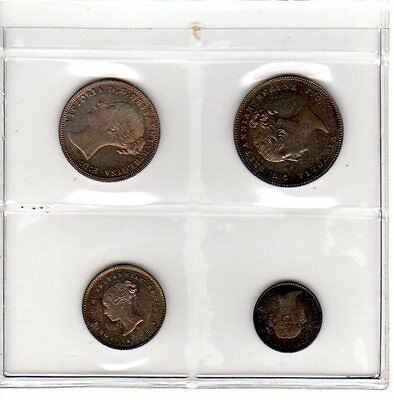 Great Britain 1877 Maundy Set Victoria Penny Two Three Fourpence Silver Coins