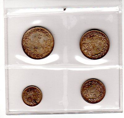 Great Britain 1884 Maundy Set Victoria Penny Two Three Fourpence Silver Coins