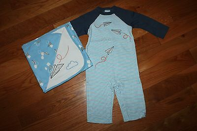 NWT Gymboree Cloud Cutie 6-12 Mo Set Blue Striped Paper Airplane Romper Blanket