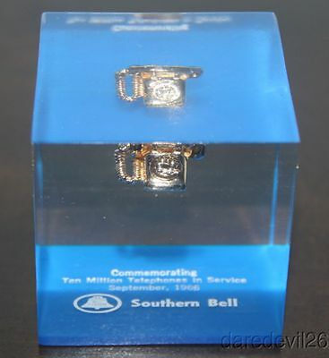 Vintage 1966 SOUTHERN BELL Ten Million Telephones In Service Paperweight