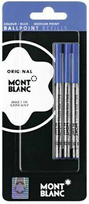 3 Montblanc Blue  Medium  Point  Ballpoint Refills New In Pack