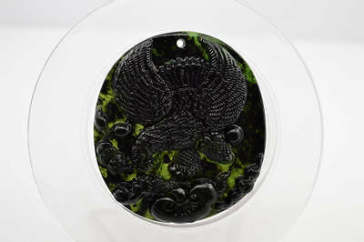 #002 Chinese natural nephrite black jade Carving pendant Eagle 大展宏图