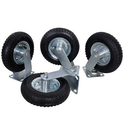 "4Pcs 8"" Air Tire Caster Wheel 2 Rigid + 2 Swivel Wheel Farm Wheels Durable"