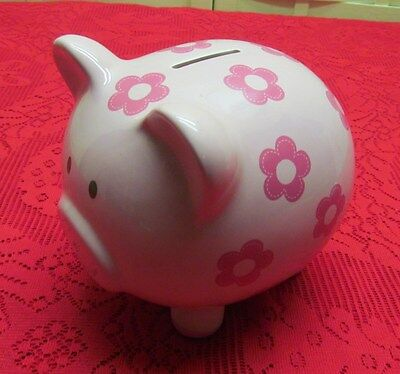 Adorable Large Ceramic Pig Piggy Bank Pink W/ Flowers - Quality Cr Gibson