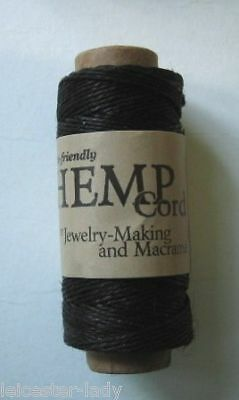 30 Metre Spool 0.5mm 3Ply Natural HEMP CORD - Black
