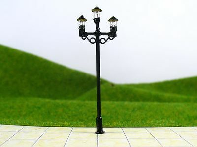 S155 - Set 10 Piece Streetlights nostalgic 3 lamps 6cm Parking lights
