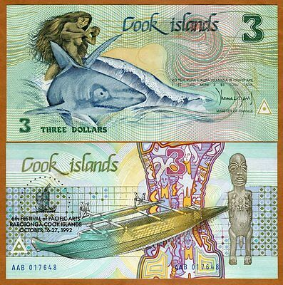 Cook Islands, $3, 1992, Naked Ina, Pick 6, UNC   Commemorative