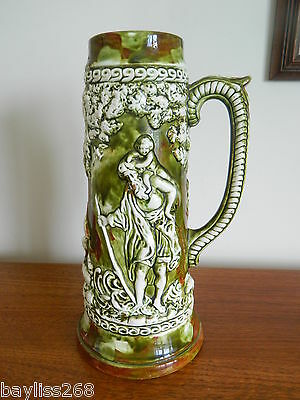 Iconic Large American Atlantic Mold Pottery Tankard Vase marked Den May 1972