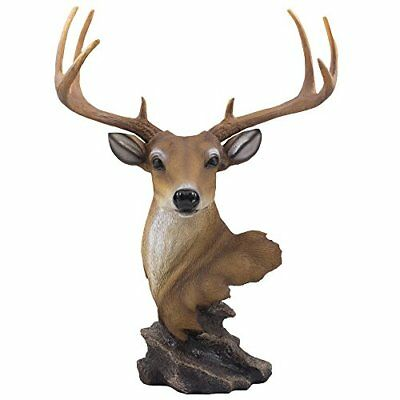 Decorative Buck Bust Statue or Deer Head Sculpture with 8-point Antlers for
