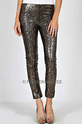 a8c66e30938ec5 GOLD BLACK SEQUIN LEGGINGS Pants Metallic Stretch NEW Long Women's Sexy S M  L
