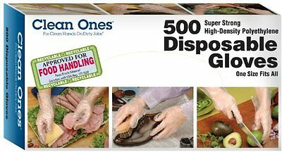 Clean Ones Disposable HDPE Poly Gloves, One Size Fits All - 500ct New