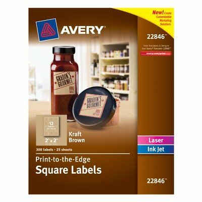 Avery Print-to-the-Edge Square Labels, Kraft Brown, 2 x 2 Inches, Pack of 300