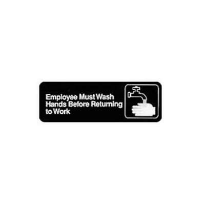 Winco SGN-322 Sign, 3-Inch by 9-Inch, Employee Must Wash Hand New