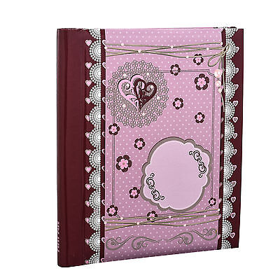 Arpan Large Purple Self Adhesive Photo Album 40/Sides Tilda Style Hearts AL-9159