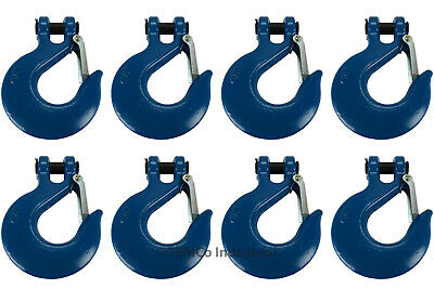"8x 3/4"" Chain Slip Safety Latch Hook Clevis Rigging Tow Winch Trailer Grade 70"