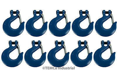 "10x 3/4"" Chain Slip Safety Latch Hook Clevis Rigging Tow Winch Trailer Grade 70"