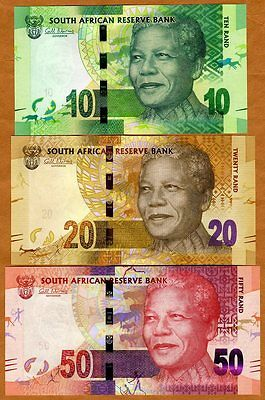 SET, South Africa, 10;20;50 rand, ND (2012), Picks 133-134-135, UNC > Mandela