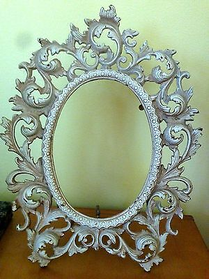 ANTIQUE WHITE Vintage ORNATE CAST IRON VICTORIAN STANDING PICTURE FRAME