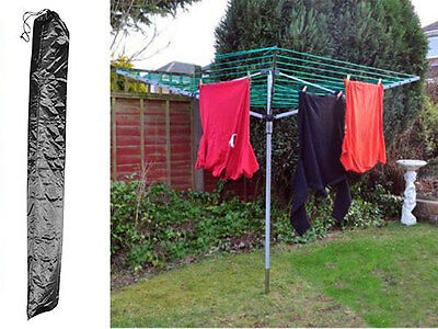 Summer Natural 4 Arm Rotary Garden Washing Line Clothes Airer Dryer + Free Cover