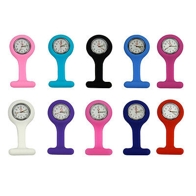Silicone Nurses Brooch Tunic Fob Medical Watch Free Battery 10 Colours Pocket