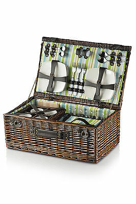 Luxury 4 Person English Wicker Willow Picnic Basket Hamper & Rucksack Backpack