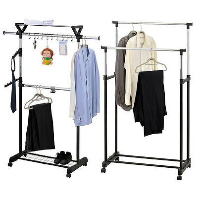 Adjustable Clothes Coat Garment Hanging Rail Rack Storage Double Stand Castors