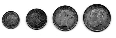Great Britain 1867 Maundy Set Victoria Penny Two Three Fourpence Silver Coins