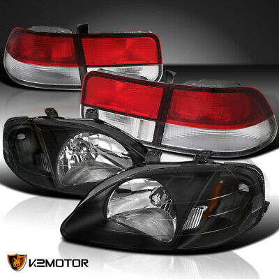 Fit 99-00 Civic 2DR Black Crystal Headlights+Red Clear Tail Lamps