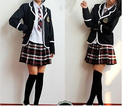 Cosplay England College School uniforms Korean long-sleeved Womens suits 5 sets