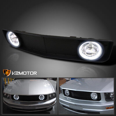 2005-2009 Ford Mustang V6 Black Front Hood Grill Grille w/ Clear Fog Lights