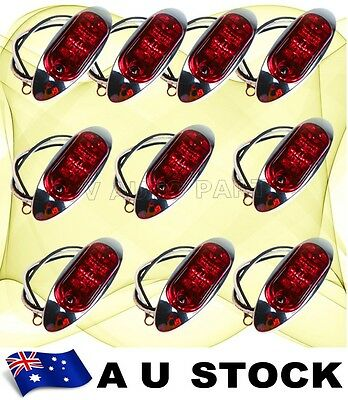 10X 12V 24V DC RED Side Light LED Marker Boat Trailer Oval Chrome Base AU Ship