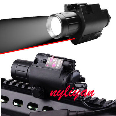 Combo Q5 CREE Flashlight&RED Dot Laser Sight For Rifle Handgun Airsoft Hunting
