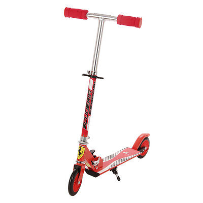 Official Ferrari Kids 2 Wheel T-Bar Folding Scooter Rosso Red 125MM Large Wheels
