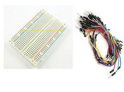 Mini Universal Solderless Breadboard 400 Tie-points +65PCS Jumper cable wire