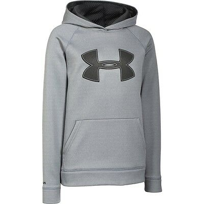 under armour boys youth storm fleece big logo hoodie water repellent large NEW