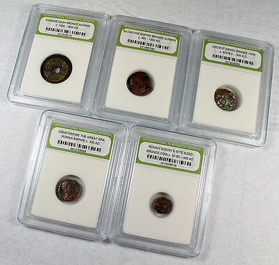Lot 5 Different Ancient Coins Greek / Chinese / Roman / Widows Mite / Byzantine