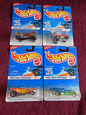 Hot Wheels-Lot of 4-1996 First Editions-7, 8, 9, 10-Still on Card-New Condition