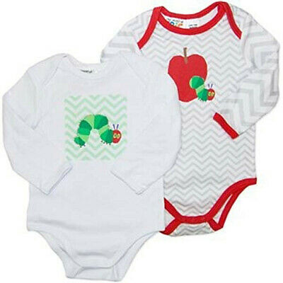Set Of 2 Baby Girls Boys Eric Carle Cotton Long Sleeve Rompers Bodysuits