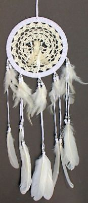 DREAM CATCHER Crochet Buffalo Cow Skull Feathers NATIVE INDIAN INSPIRED 15CM
