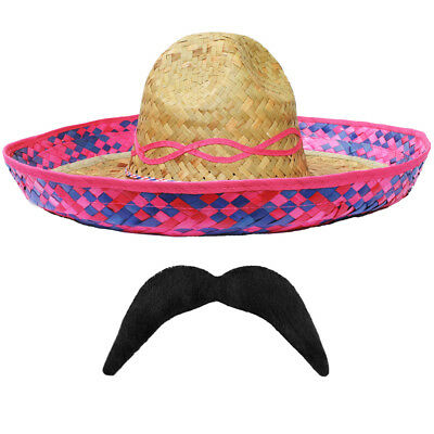 Pink Straw Sombrero Hat Moustache 12 Pack Mexican Hen Stag Bandit Fancy Dress