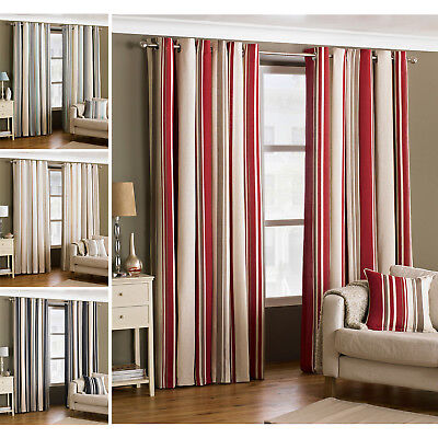 Ready Made Striped Eyelet Curtains - Modern Ring Top Fully Lined Curtain Pair