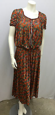 Vintage Missoni 100% Silk Set 3 Piece Blouse Skirt Camisole Print Of Circles S