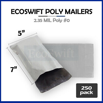 250 5x7 WHITE POLY MAILERS SHIPPING ENVELOPES SELF SEALING BAGS 2.35 MIL 5 x 7