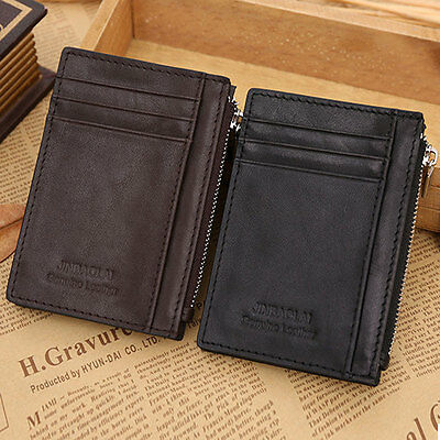 New Men's Genuine Real Leather Credit Card ID Holder Slim Wallet Cash Coin Purse